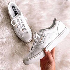 Adidas sleek white leather sneakers size 8
